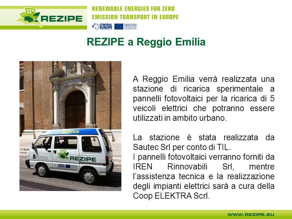 REZIPE a Reggio Emilia A Reggio Emilia verrà realizzata una stazione di ricarica sperimentale a pannelli fotovoltaici per la ricarica di 5 veicoli ele