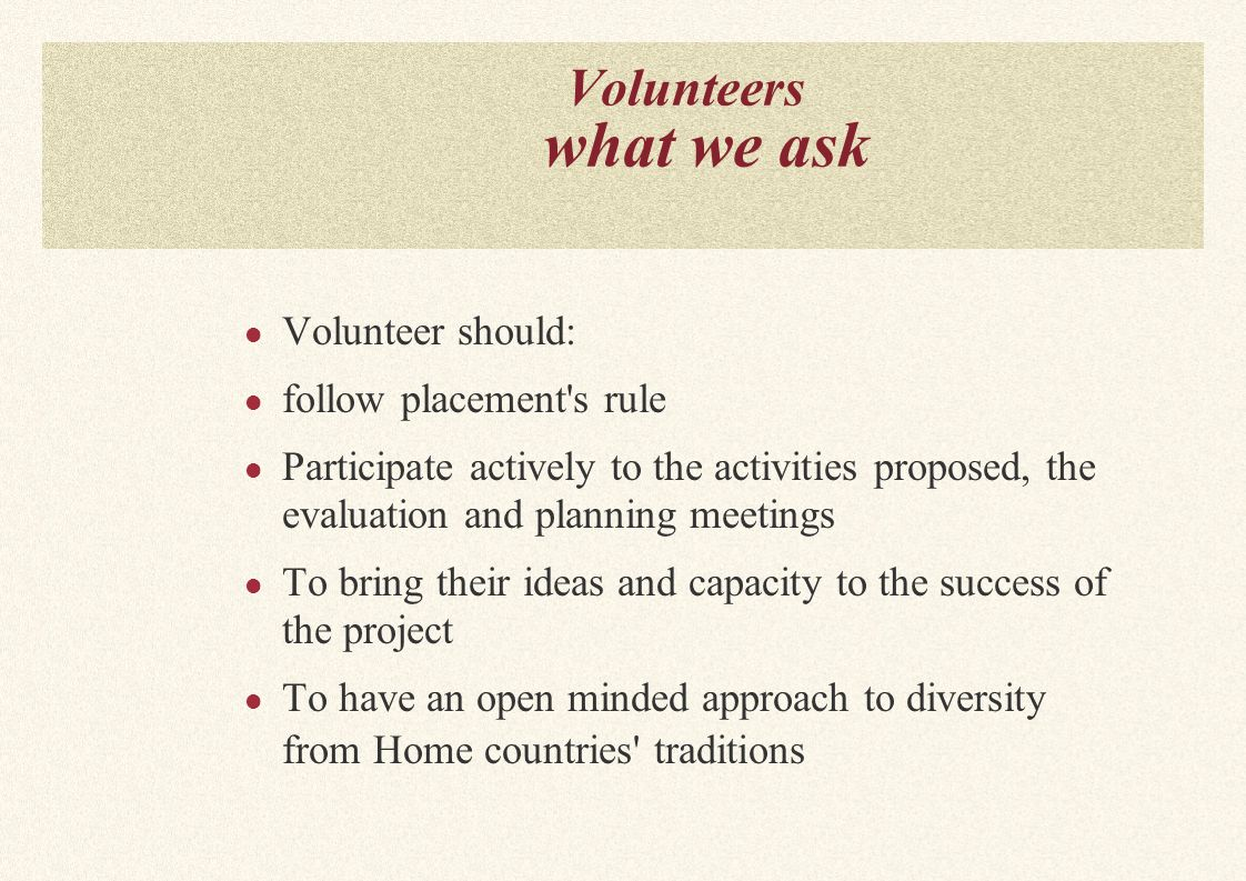 Volunteers what we ask Volunteer should: follow placement s rule Participate actively to the activities proposed, the evaluation and planning meetings To bring their ideas and capacity to the success of the project To have an open minded approach to diversity from Home countries traditions