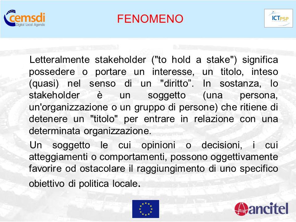 FENOMENO Letteralmente stakeholder (
