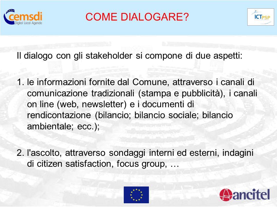 COME DIALOGARE? Il dialogo con gli stakeholder si compone di due aspetti: 1.le informazioni fornite dal Comune, attraverso i canali di comunicazione t