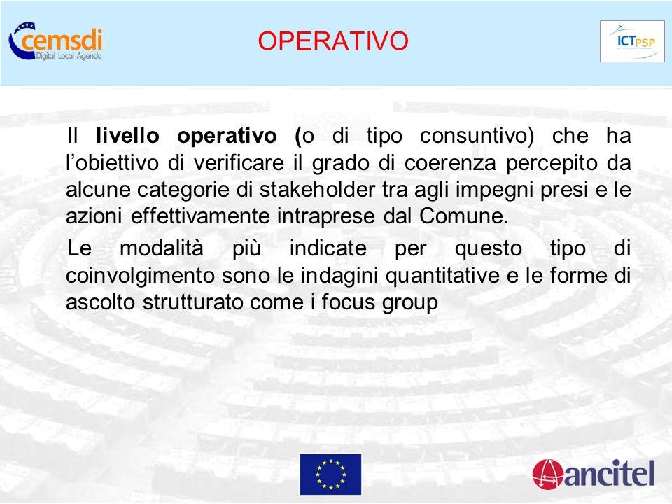 OPERATIVO Il livello operativo (o di tipo consuntivo) che ha lobiettivo di verificare il grado di coerenza percepito da alcune categorie di stakeholde