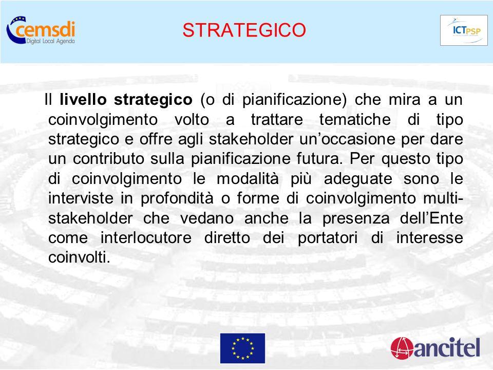 STRATEGICO Il livello strategico (o di pianificazione) che mira a un coinvolgimento volto a trattare tematiche di tipo strategico e offre agli stakeho