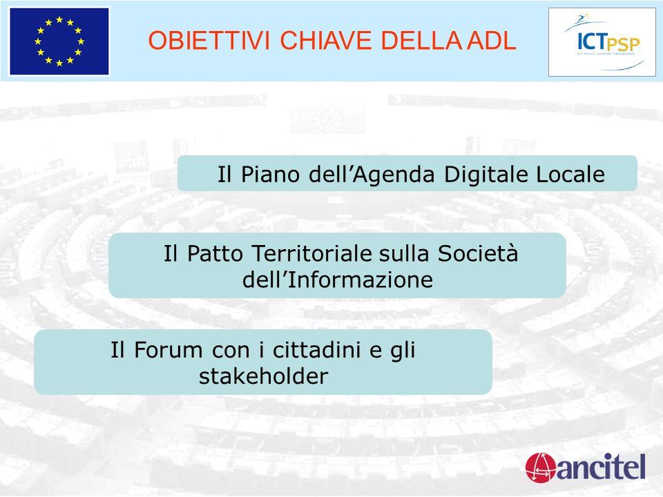 OBIETTIVI CHIAVE DELLA ADL Il Piano dellAgenda Digitale Locale Il Patto Territoriale sulla Società dellInformazione Il Forum con i cittadini e gli sta