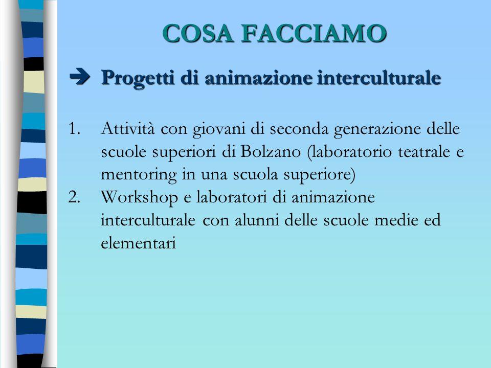 COSA FACCIAMO Progetti di animazione interculturale Progetti di animazione interculturale 1.Attività con giovani di seconda generazione delle scuole s