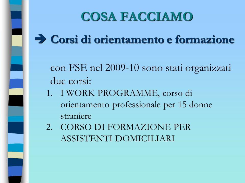 COSA FACCIAMO Corsi di orientamento e formazione Corsi di orientamento e formazione con FSE nel 2009-10 sono stati organizzati due corsi: 1.I WORK PRO