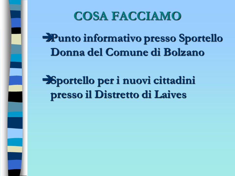 COSA FACCIAMO Punto informativo presso Sportello Donna del Comune di Bolzano Punto informativo presso Sportello Donna del Comune di Bolzano Sportello