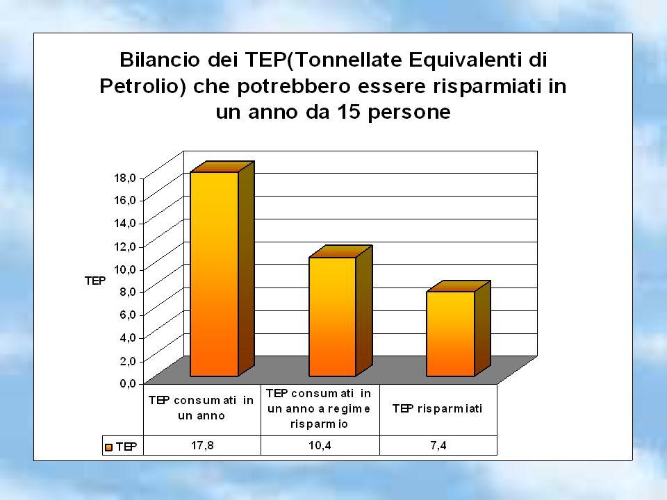 Se tutti i cittadini di Firenze (364.052 dato del 31/08/2007) attuassero questo piano di risparmio energetico, in 1 anno potrebbero essere risparmiati 179.600 TEP 152.900 TEP potrebbero coprire il fabbisogno energetico annuale di una città di 235.000 abitanti (dato dellAutorità per lenergia elettrica e il gas http://www.autorita.energia.it/) Una città di 235.000 abitanti è più grande di Liegi (circa 189.000 abitanti: dato estratto da Wikipedia )