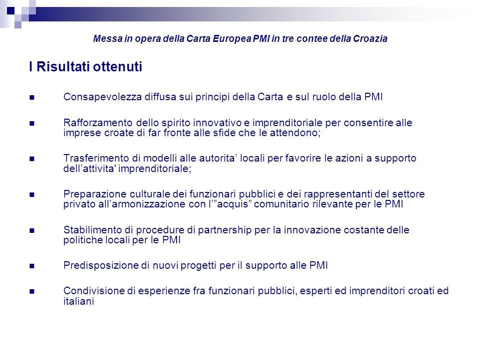 I Risultati ottenuti Consapevolezza diffusa sui principi della Carta e sul ruolo della PMI Rafforzamento dello spirito innovativo e imprenditoriale pe