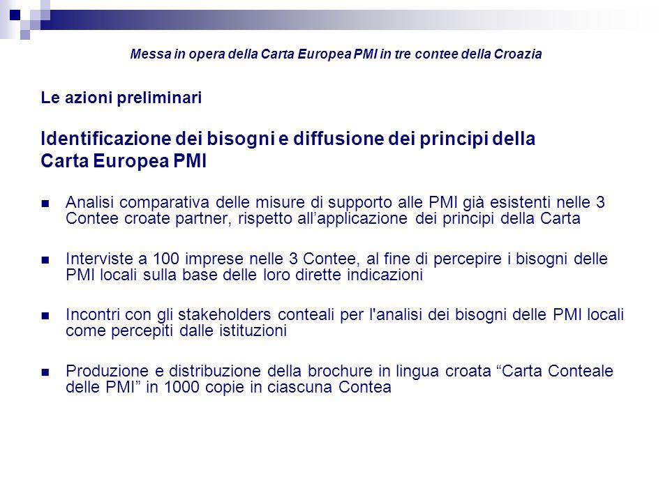 Le azioni preliminari Identificazione dei bisogni e diffusione dei principi della Carta Europea PMI Analisi comparativa delle misure di supporto alle