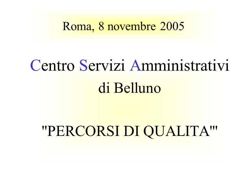 Roma, 8 novembre 2005 Centro Servizi Amministrativi di Belluno