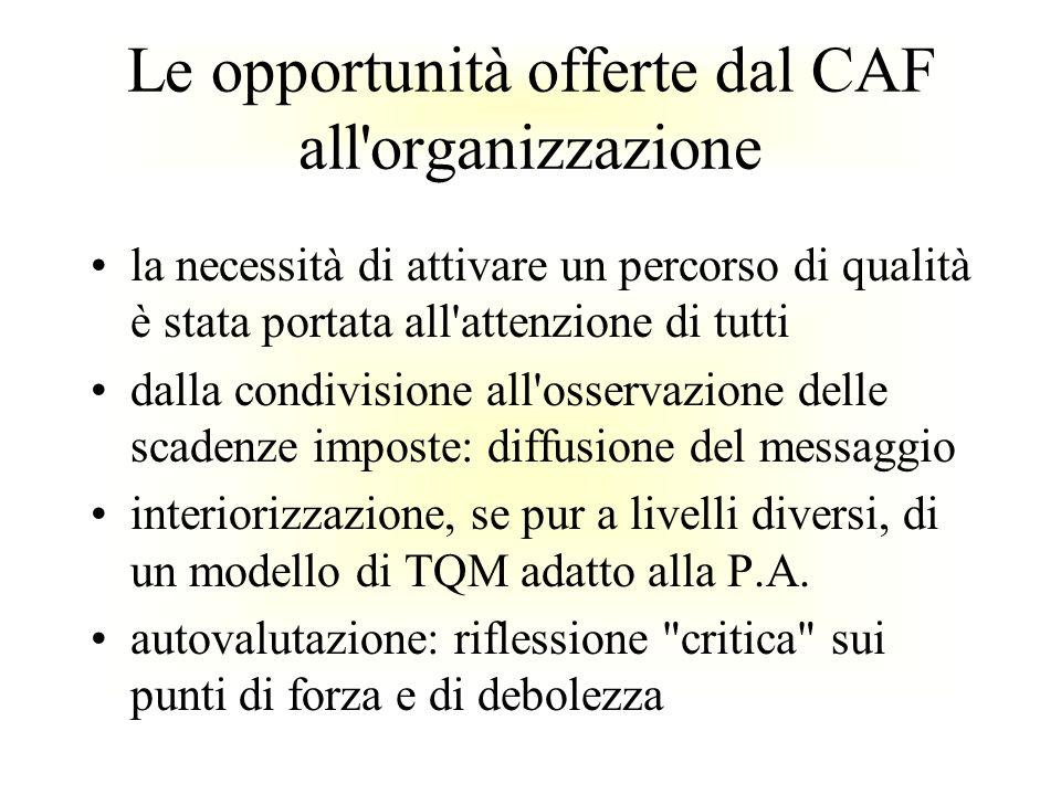 Le opportunità offerte dal CAF all'organizzazione la necessità di attivare un percorso di qualità è stata portata all'attenzione di tutti dalla condiv
