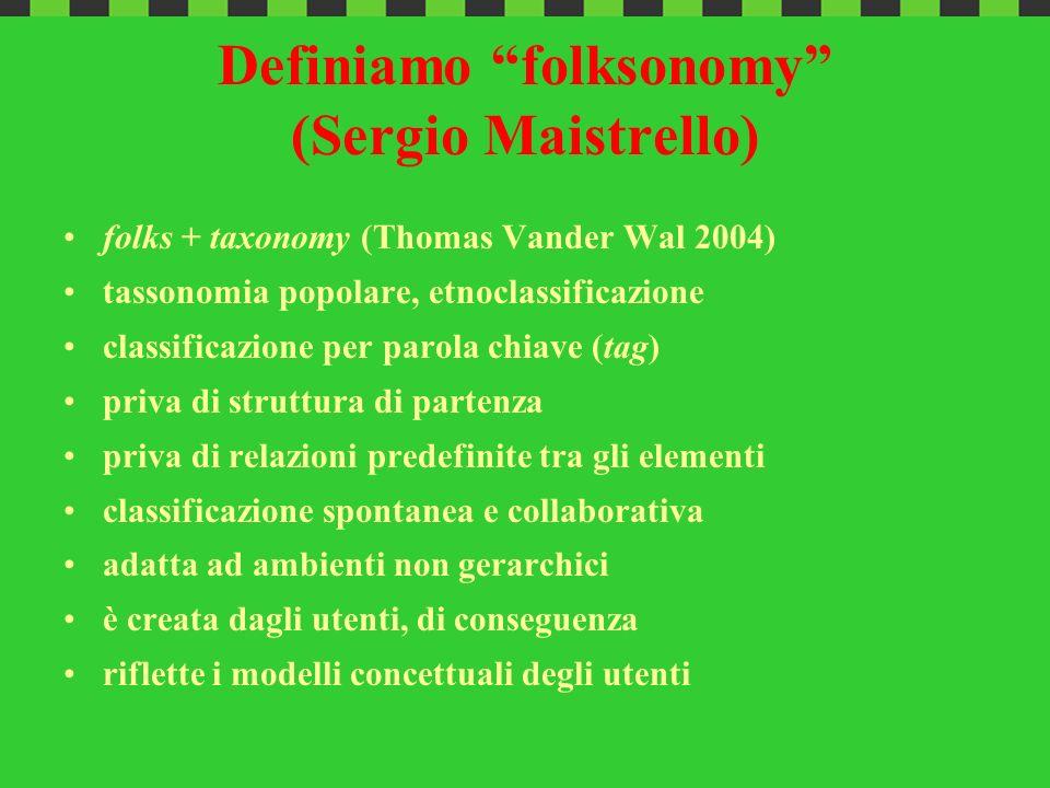 Definiamo folksonomy (Sergio Maistrello) folks + taxonomy (Thomas Vander Wal 2004) tassonomia popolare, etnoclassificazione classificazione per parola