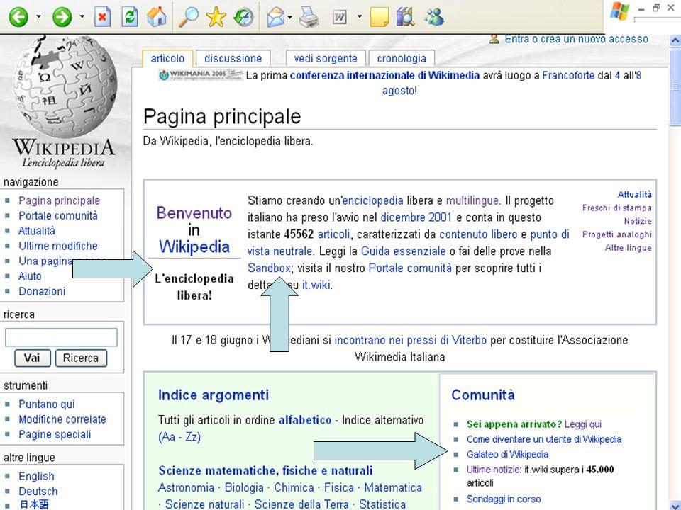 Wikipedia: la costruzione collettiva del sapere Guardando allhomepage della versione italiana di Wikipedia, le prime parole che balzano agli occhi son