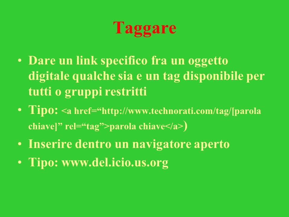 Taggare Dare un link specifico fra un oggetto digitale qualche sia e un tag disponibile per tutti o gruppi restritti Tipo: parola chiave ) Inserire de