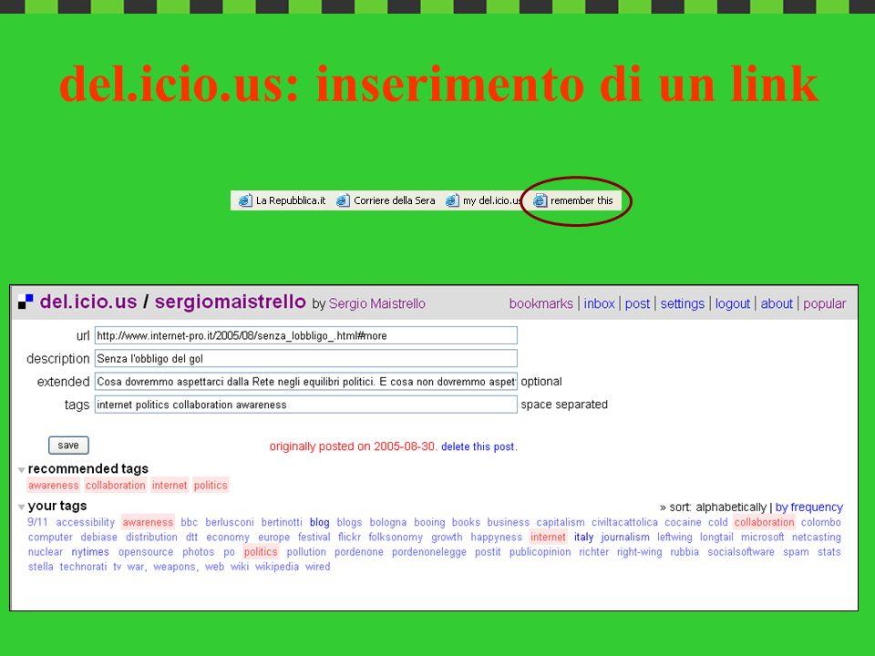 del.icio.us: inserimento di un link