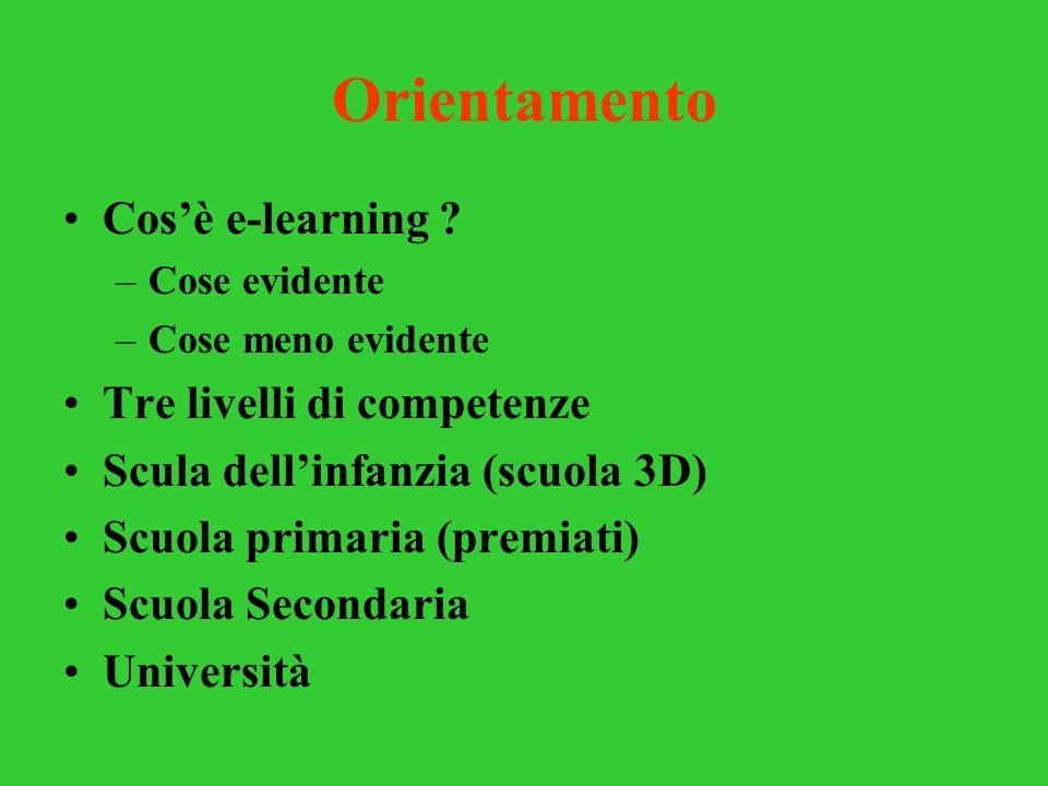 Orientamento Cosè e-learning ? –Cose evidente –Cose meno evidente Tre livelli di competenze Scula dellinfanzia (scuola 3D) Scuola primaria (premiati)