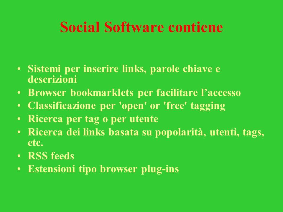 Social Software contiene Sistemi per inserire links, parole chiave e descrizioni Browser bookmarklets per facilitare laccesso Classificazione per 'ope