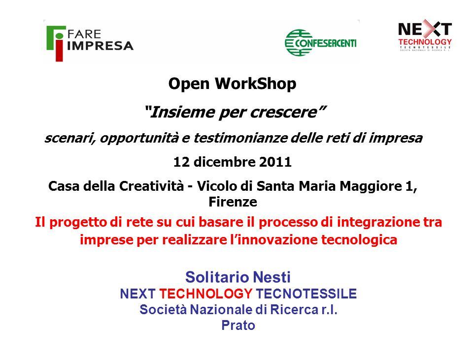 Open WorkShop Insieme per crescere scenari, opportunità e testimonianze delle reti di impresa 12 dicembre 2011 Casa della Creatività - Vicolo di Santa