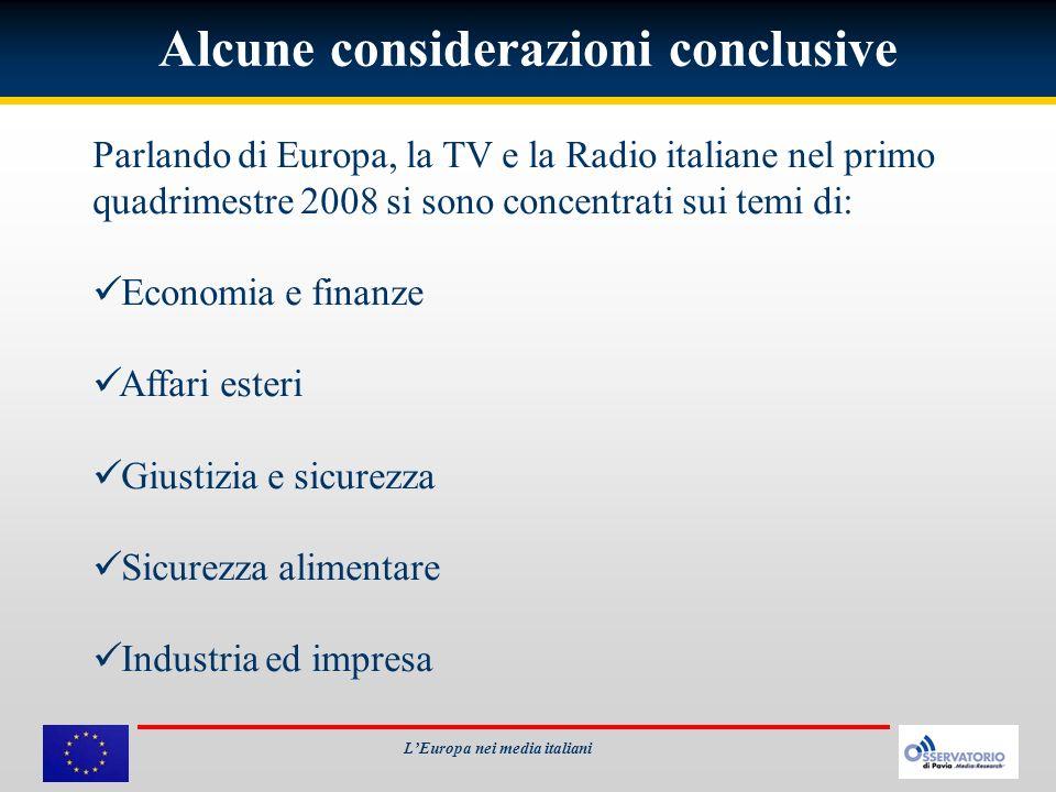 Alcune considerazioni conclusive Parlando di Europa, la TV e la Radio italiane nel primo quadrimestre 2008 si sono concentrati sui temi di: Economia e