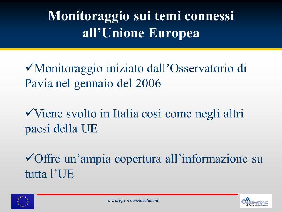 Monitoraggio sui temi connessi allUnione Europea LEuropa nei media italiani Monitoraggio iniziato dallOsservatorio di Pavia nel gennaio del 2006 Viene