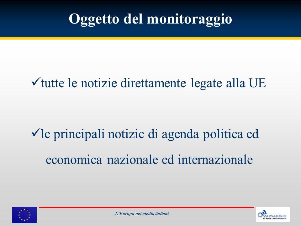 Oggetto del monitoraggio tutte le notizie direttamente legate alla UE le principali notizie di agenda politica ed economica nazionale ed internazional