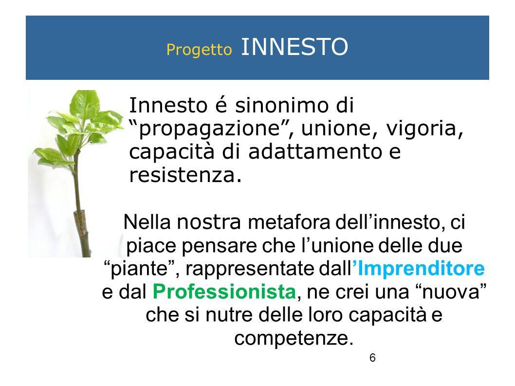 6 Progetto INNESTO Innesto é sinonimo di propagazione, unione, vigoria, capacità di adattamento e resistenza.