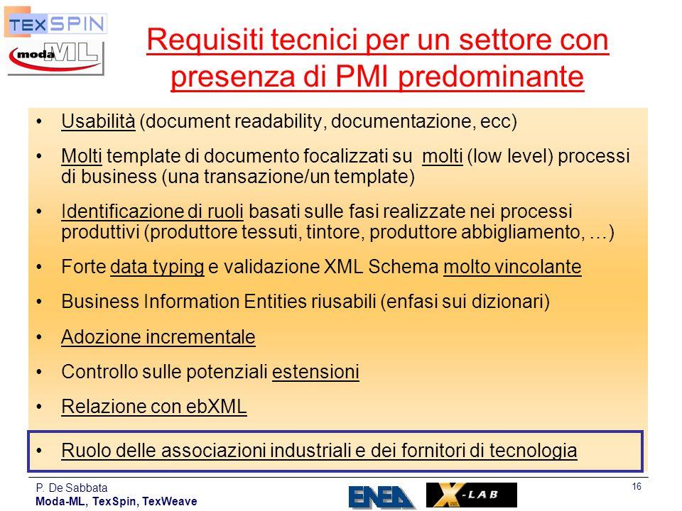 P. De Sabbata Moda-ML, TexSpin, TexWeave 16 Requisiti tecnici per un settore con presenza di PMI predominante Usabilità (document readability, documen