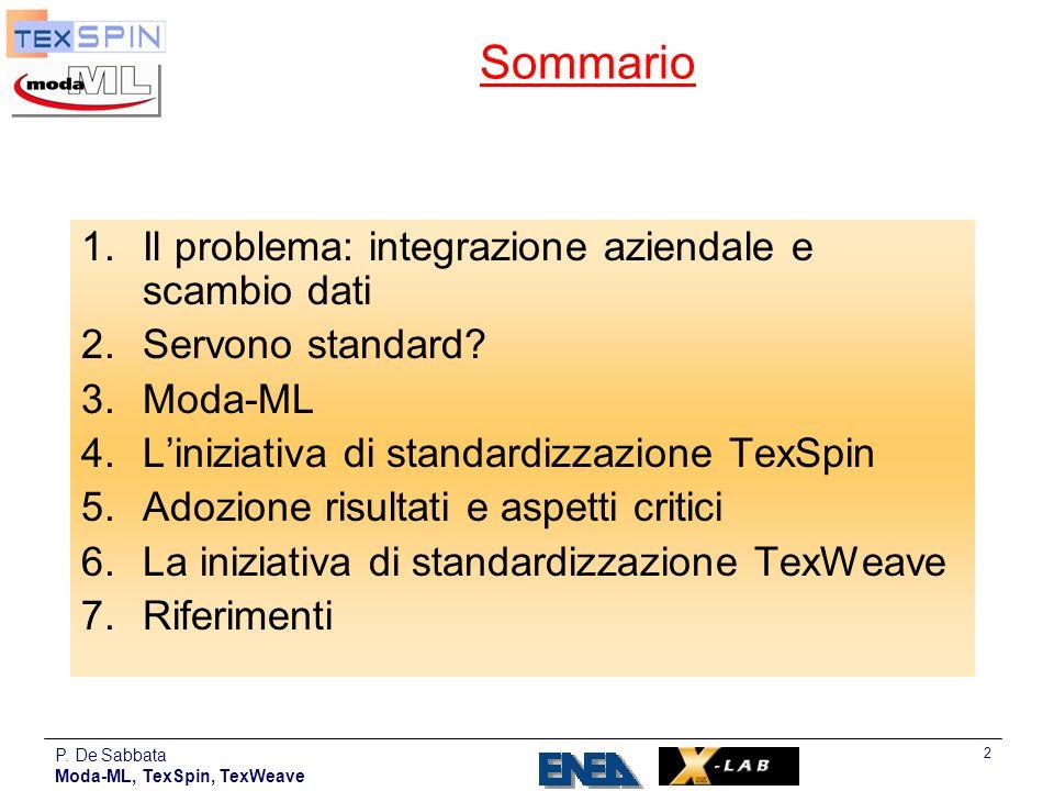 P. De Sabbata Moda-ML, TexSpin, TexWeave 2 Sommario 1.Il problema: integrazione aziendale e scambio dati 2.Servono standard? 3.Moda-ML 4.Liniziativa d