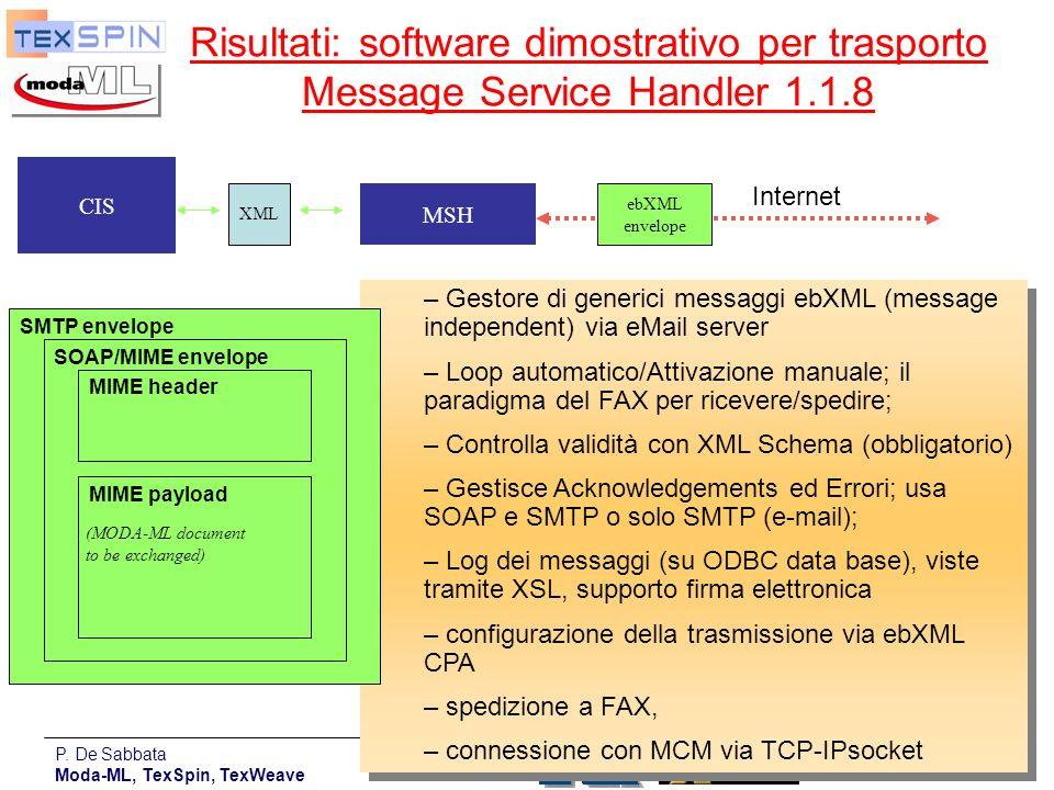 P. De Sabbata Moda-ML, TexSpin, TexWeave 21 Risultati: software dimostrativo per trasporto Message Service Handler 1.1.8 – Gestore di generici messagg