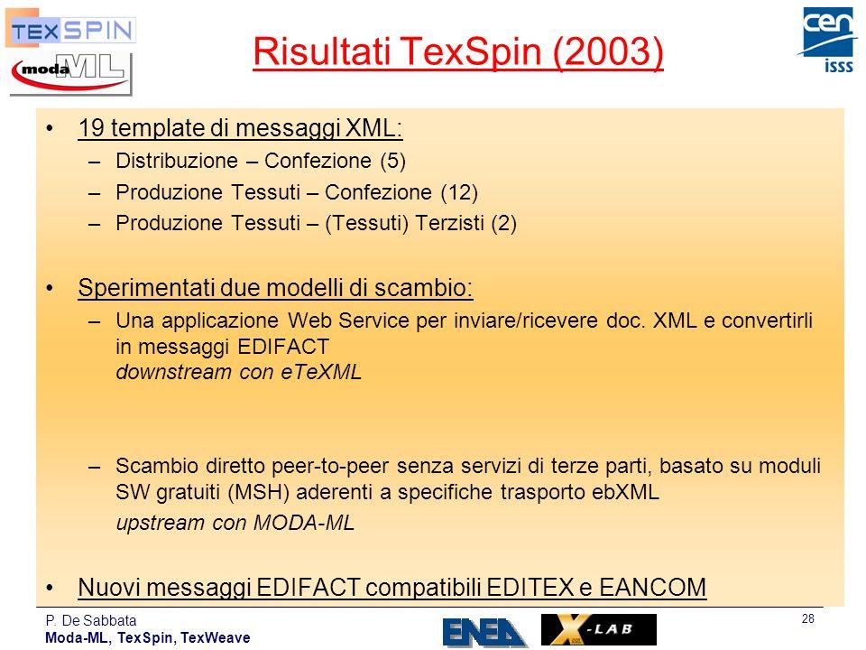 P. De Sabbata Moda-ML, TexSpin, TexWeave 28 Risultati TexSpin (2003) 19 template di messaggi XML: –Distribuzione – Confezione (5) –Produzione Tessuti