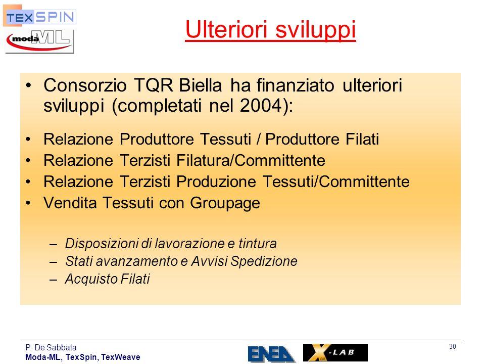 P. De Sabbata Moda-ML, TexSpin, TexWeave 30 Ulteriori sviluppi Consorzio TQR Biella ha finanziato ulteriori sviluppi (completati nel 2004): Relazione