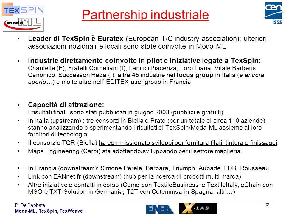 P. De Sabbata Moda-ML, TexSpin, TexWeave 32 Partnership industriale Leader di TexSpin è Euratex (European T/C industry association); ulteriori associa