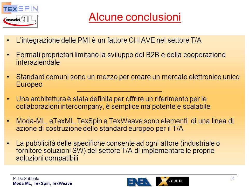 P. De Sabbata Moda-ML, TexSpin, TexWeave 38 Alcune conclusioni Lintegrazione delle PMI è un fattore CHIAVE nel settore T/A Formati proprietari limitan