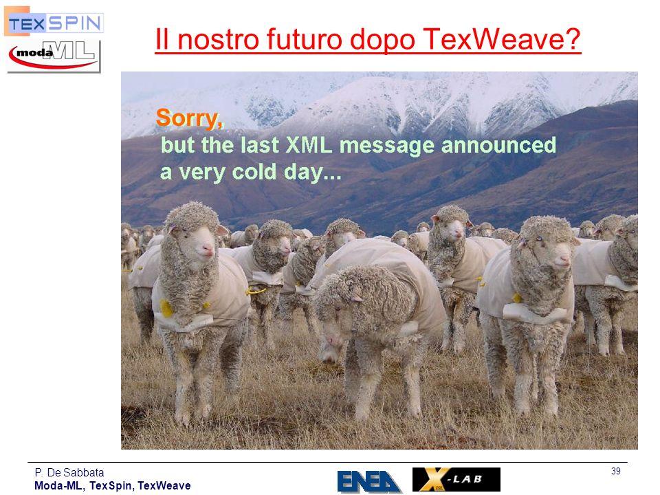 P. De Sabbata Moda-ML, TexSpin, TexWeave 39 Il nostro futuro dopo TexWeave? Sorry,