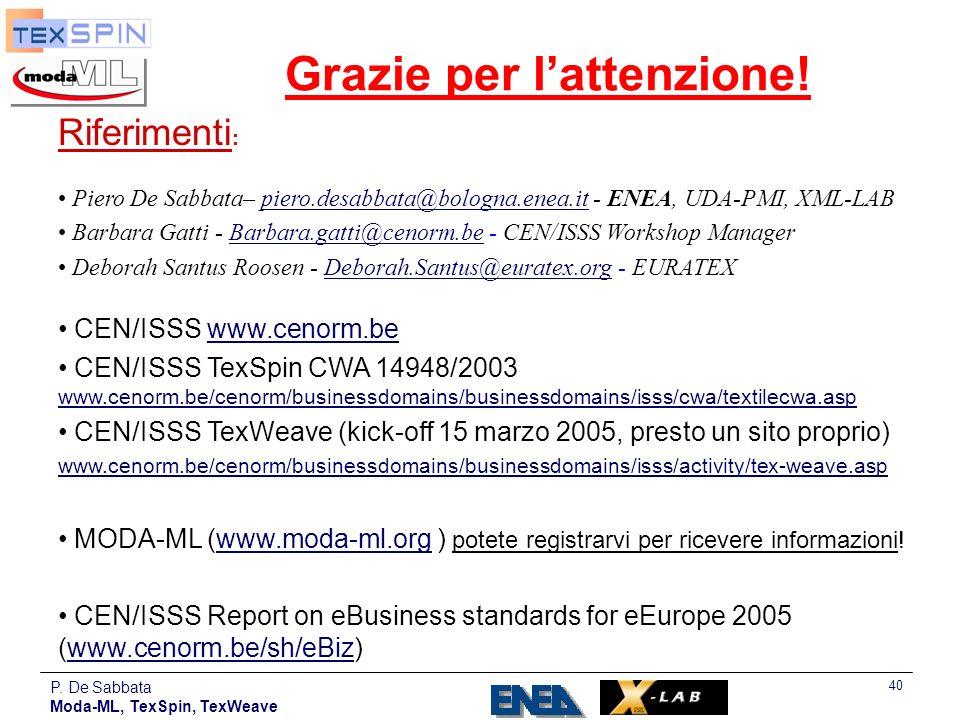 P. De Sabbata Moda-ML, TexSpin, TexWeave 40 Grazie per lattenzione! Riferimenti : Piero De Sabbata– piero.desabbata@bologna.enea.it - ENEA, UDA-PMI, X