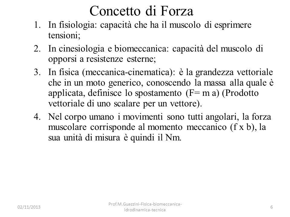02/11/2013 Prof.M.Guazzini-Fisica-biomeccanica- idrodinamica-tecnica 57 Momento di rotazione nel C1 C1 visto dallalto.