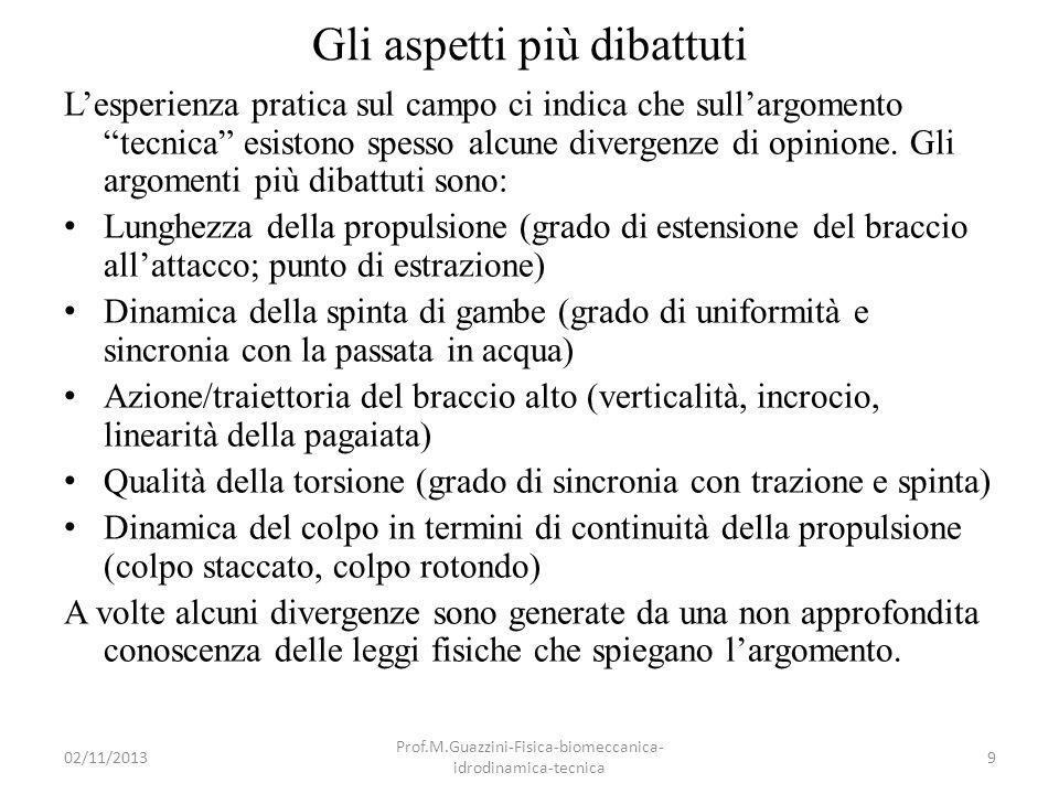 02/11/2013 Prof.M.Guazzini-Fisica-biomeccanica- idrodinamica-tecnica 60 Caratteristiche pala elicoidale Una buona pagaia deve possedere un elevato P, con un basso R.