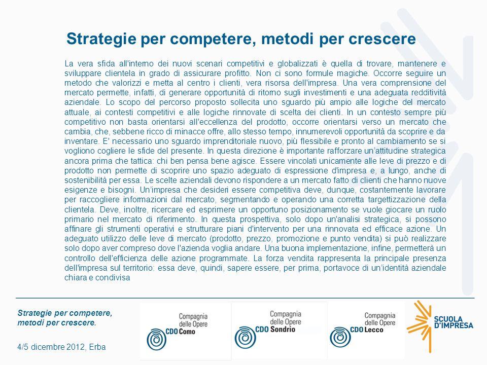 Strategie per competere, metodi per crescere. 4/5 dicembre 2012, Erba Strategie per competere, metodi per crescere La vera sfida all'interno dei nuovi