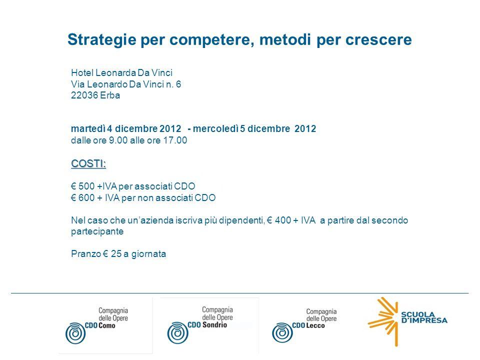 Compagnia delle Opere di Como Via Oltrecolle 139 – 22100 Como Tel.