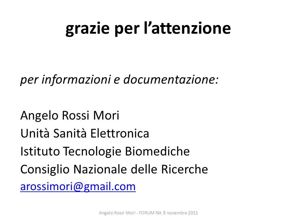 grazie per lattenzione per informazioni e documentazione: Angelo Rossi Mori Unità Sanità Elettronica Istituto Tecnologie Biomediche Consiglio Nazional