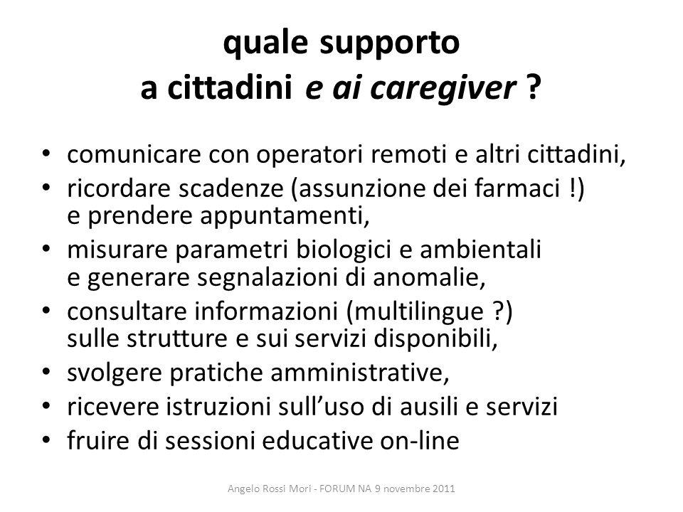 quale supporto a cittadini e ai caregiver ? comunicare con operatori remoti e altri cittadini, ricordare scadenze (assunzione dei farmaci !) e prender