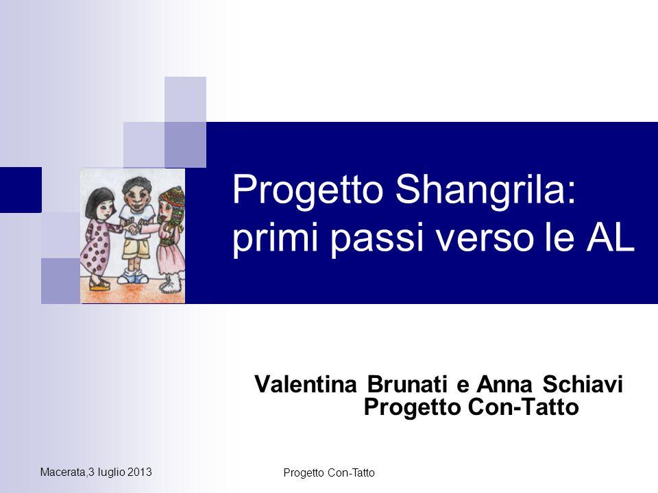 Macerata,3 luglio 2013 Progetto Con-Tatto Progetto Shangrila: primi passi verso le AL Valentina Brunati e Anna Schiavi Progetto Con-Tatto