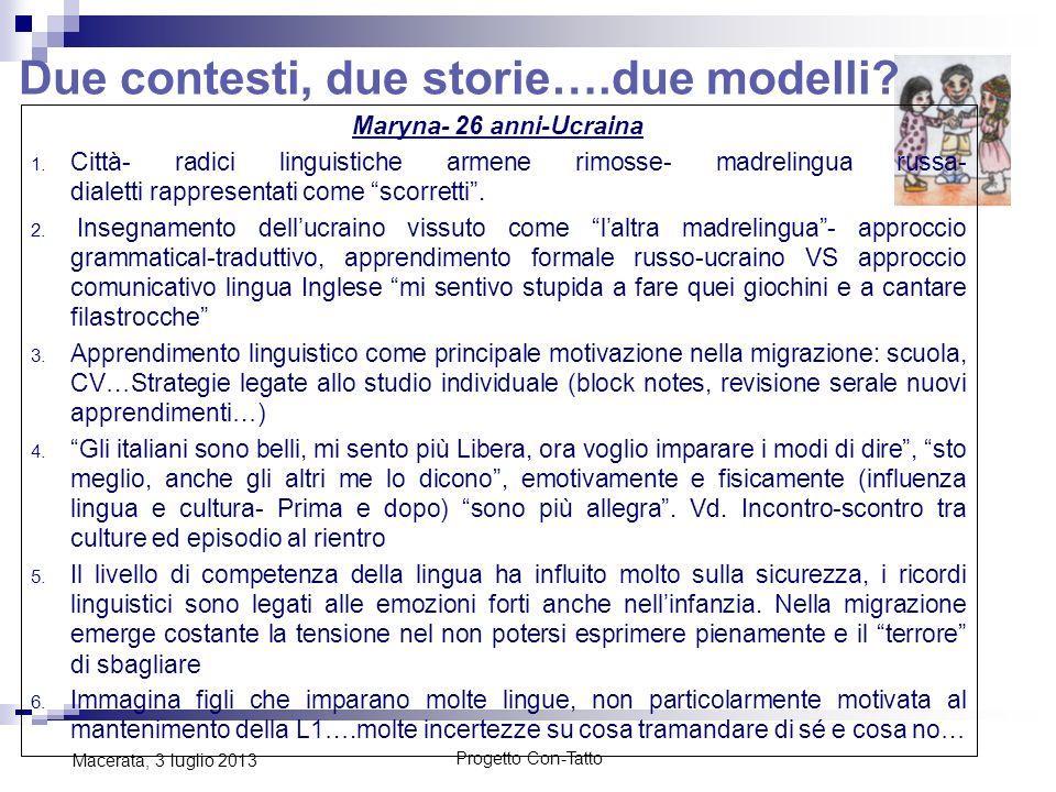 Due contesti, due storie….due modelli? Progetto Con-Tatto Macerata, 3 luglio 2013 Maryna- 26 anni-Ucraina 1. Città- radici linguistiche armene rimosse