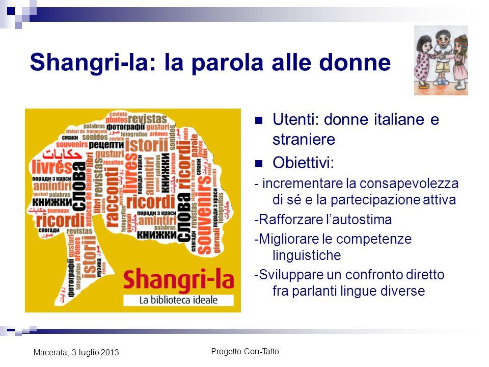 Shangri-la: la parola alle donne Utenti: donne italiane e straniere Obiettivi: - incrementare la consapevolezza di sé e la partecipazione attiva -Raff