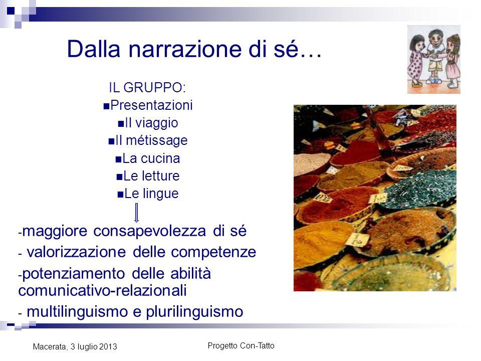 Progetto Con-Tatto Macerata, 3 luglio 2013 Dalla narrazione di sé… IL GRUPPO: Presentazioni Il viaggio Il métissage La cucina Le letture Le lingue - m