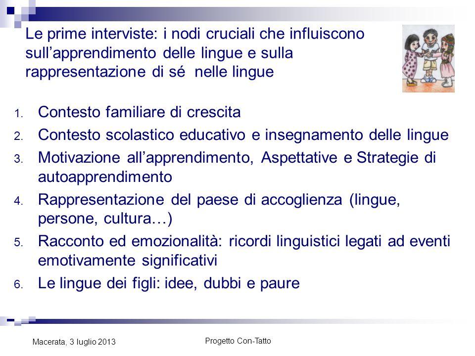 Progetto Con-Tatto Macerata, 3 luglio 2013 Le prime interviste: i nodi cruciali che influiscono sullapprendimento delle lingue e sulla rappresentazion