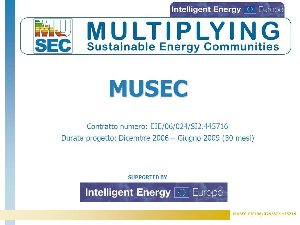 MUSEC-EIE/06/024/SI2.445716 Sviluppo e creazione di Comunità Energeticamente Sostenibili (SEC) in cinque Paesi, integrando Best Practices nelle politiche energetiche locali, meccanismi di finanziamento e attraverso programmi di sensibilizzazione e di disseminazione.
