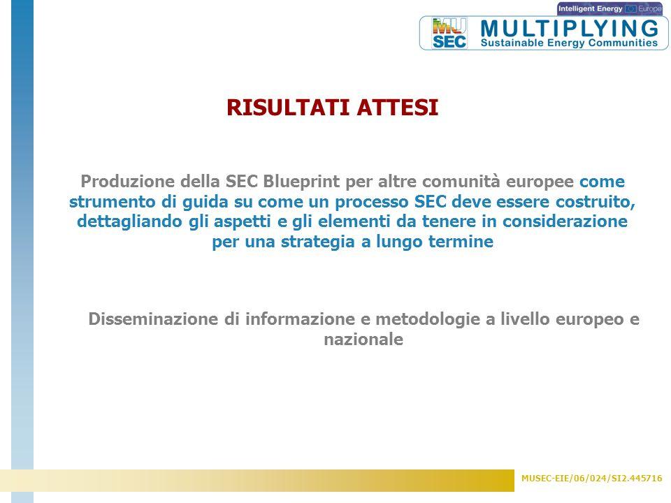 MUSEC-EIE/06/024/SI2.445716 RISULTATI PRINCIPALI (a livello progettuale) - 7 valutazioni energetiche iniziali e 7 documenti sulle priorità individuali - 5 Gruppi SECA nazionali (Bulgaria, Danimarca, Germania, Italia, Olanda) - 7 Strategie SEC e relativi Piani di Azione - Selezione di 25 Best Practices in base alla loro replicabilità a livello locale -1 SEC Blueprint - Strumenti di comunicazione e di disseminazione a livello nazionale ed europeo (depliants, newsletter elettroniche etc) -1 evento internazionale ed eventi nazionali