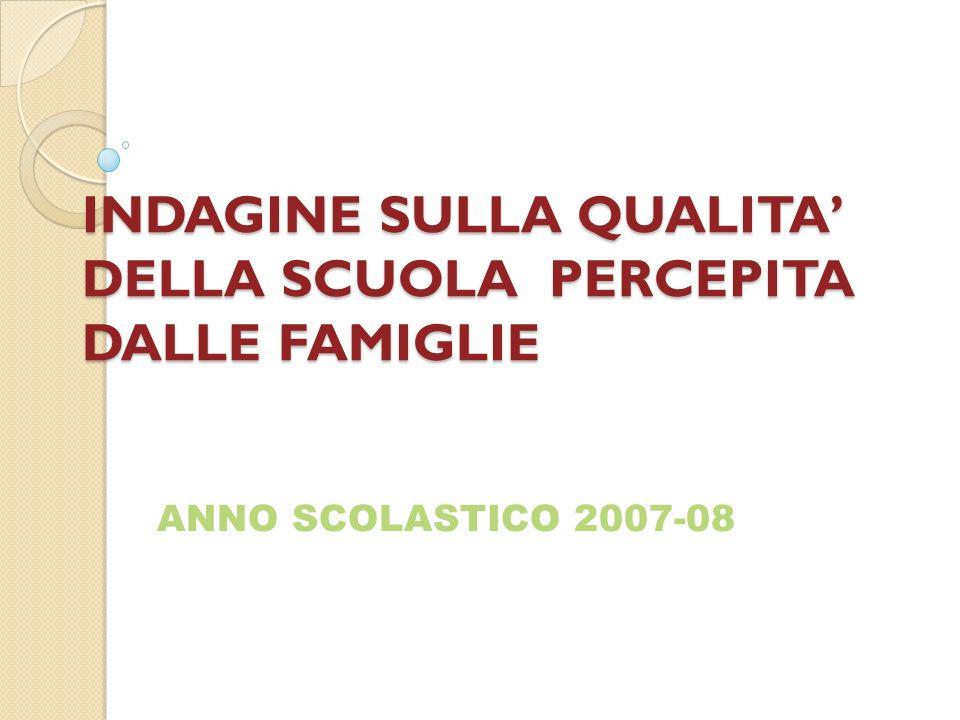 INDAGINE SULLA QUALITA DELLA SCUOLA PERCEPITA DALLE FAMIGLIE ANNO SCOLASTICO 2007-08