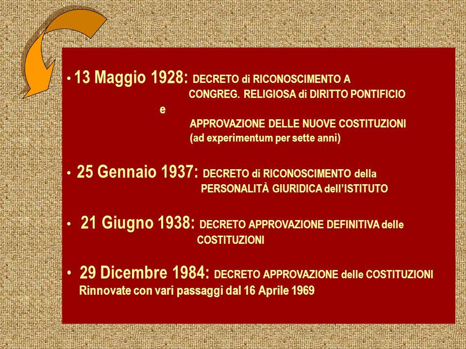 13 Maggio 1928: DECRETO di RICONOSCIMENTO A CONGREG. RELIGIOSA di DIRITTO PONTIFICIO e APPROVAZIONE DELLE NUOVE COSTITUZIONI (ad experimentum per sett